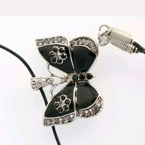 Black Enamel Butterfly Pendant Necklace
